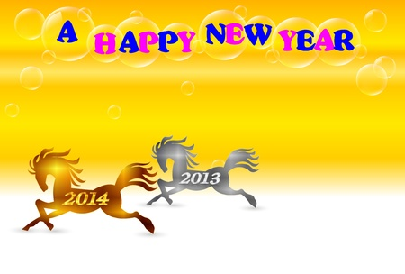 Horse background New Year s card Vector