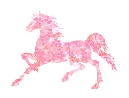 桜馬の年賀 ベクターイラストレーション