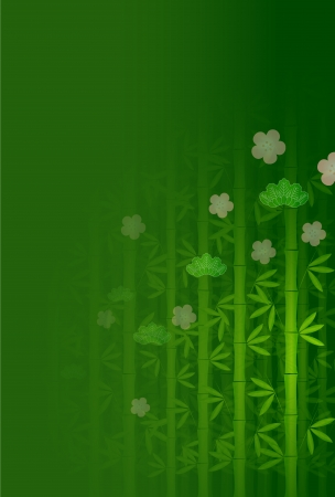 Pine bamboo plum greeting cards background Vector