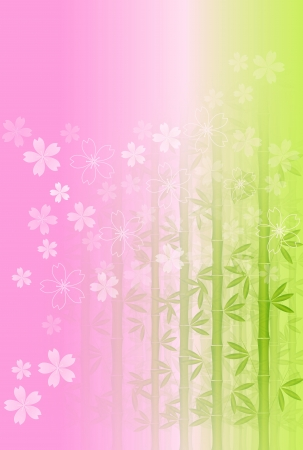 new year s card: New Year s card bamboo tree background of cherry