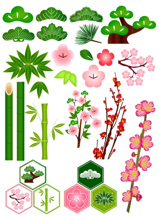 Pine bamboo plum icon Illustration