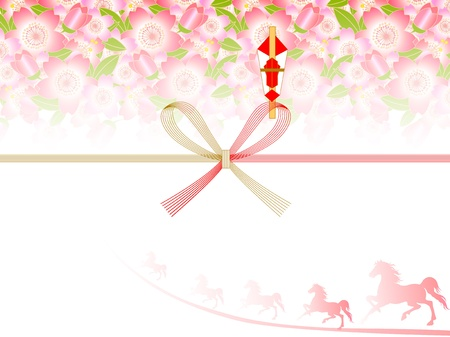 Background of auspicious decoration for gifts of cherry trees and Horse Vector