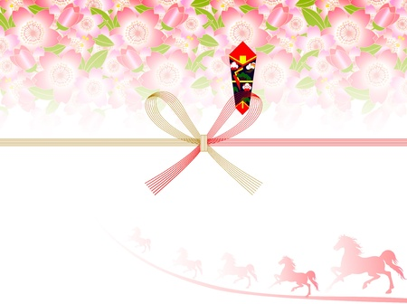 Background of auspicious decoration for gifts of cherry trees and Horse Stock Vector - 21751228