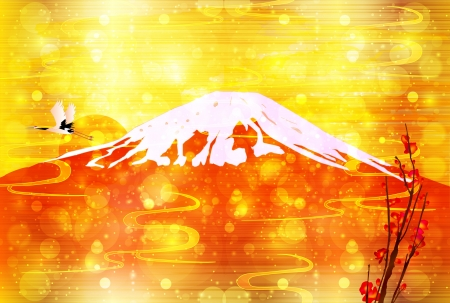 year s: Mt Fuji red New Year s card Illustration