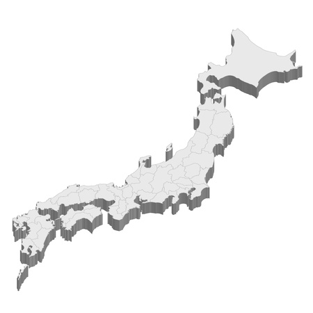 prefecture: Japan  map  state Illustration