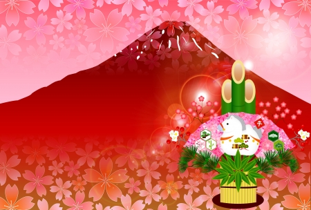 kadomatsu: Horse Fuji background Illustration