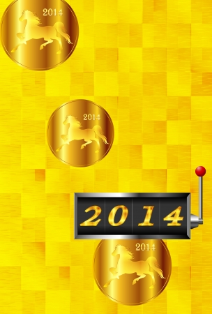 2014 New Year s card slot Horse Vector