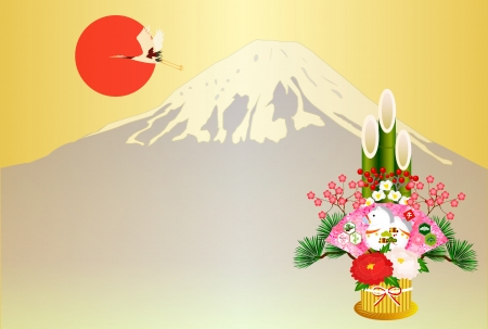 kadomatsu: Horse Fuji New Year s card Illustration