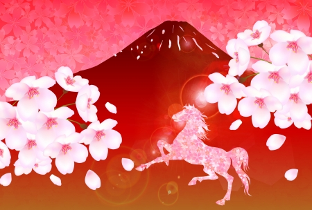 Horse Fuji cherry tree New Year s card Vector