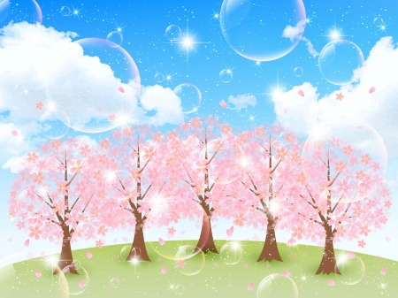 Sakura background sky Vector