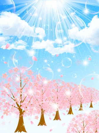 Row of cherry blossom trees background Vector