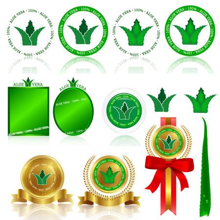 Aloe frame medal Stock Vector - 25118851