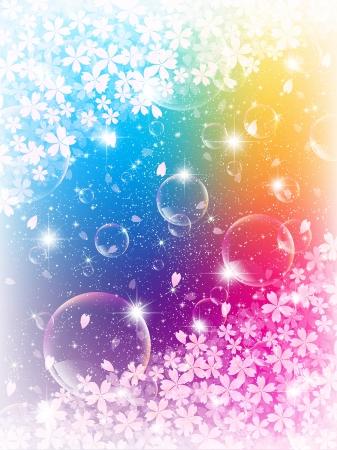 cherry tree: Bubbles background cherry tree Illustration