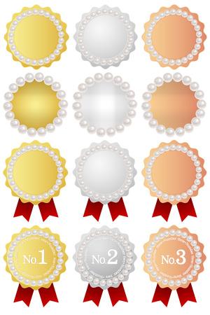 Medal frame pearl Stock Vector - 25399158