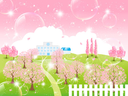Cherry sky background Vector