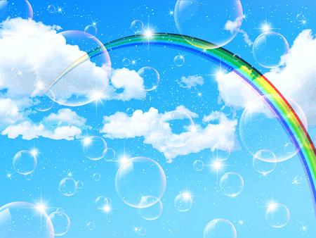 rainbow sky: Sky cloud with rainbow and bubbles background