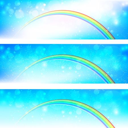 rainbow sky: Sky cloud with rainbow background Illustration