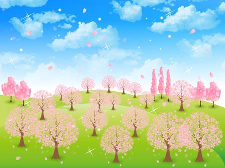 plateau: Tree sky background of cherry