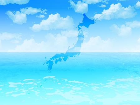 sea landscape: Japan sea landscape Illustration