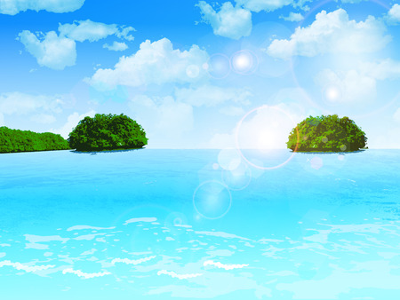 Sea blue sky island Vector