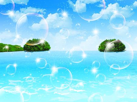 Sea blue sky island