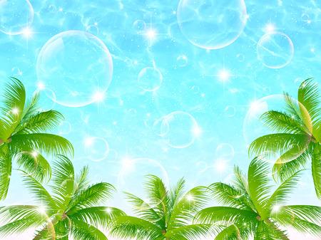 Tree landscape of sea palm  イラスト・ベクター素材