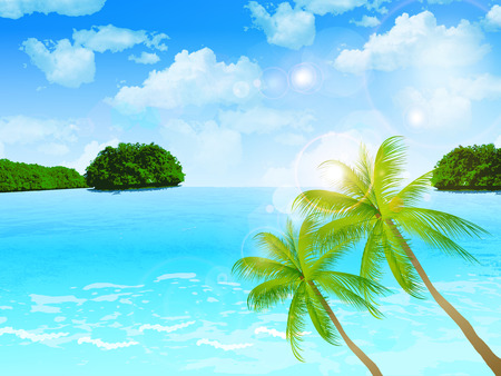 Sea palm landscape Vector