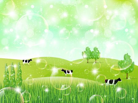 Cattle ranch landscape 向量圖像