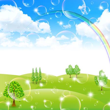 rainbow sky: Rainbow sky landscape Illustration