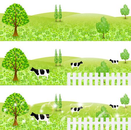 yotsuba: Cattle ranch landscape Illustration
