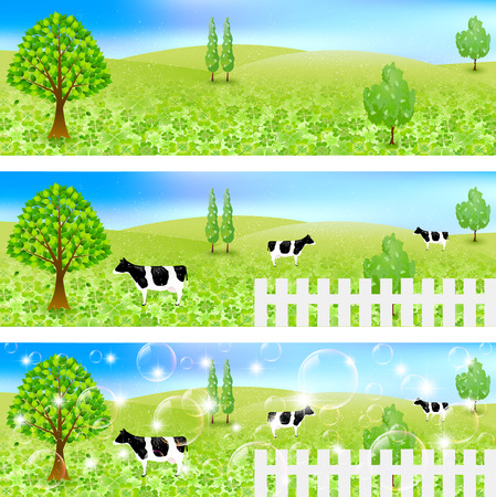 Cattle ranch landscape Vector