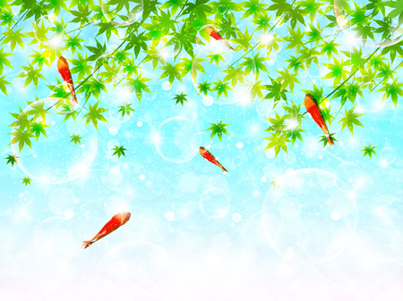 Maple goldfish landscape Vector