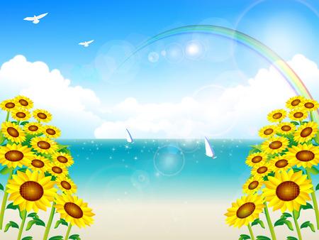 Sea sun frower landscape Vector
