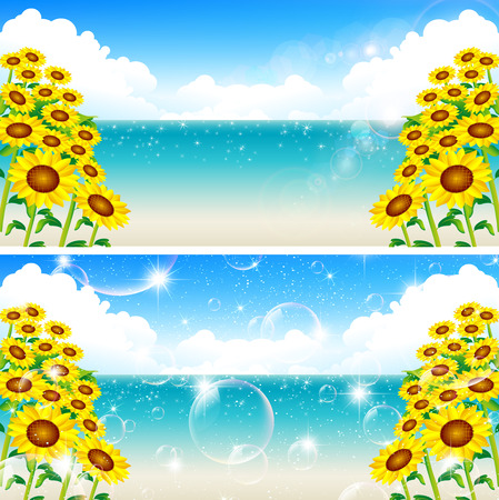 Sunflower sea landscape Vector