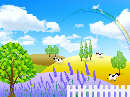 Lavender cattle ranch Vector