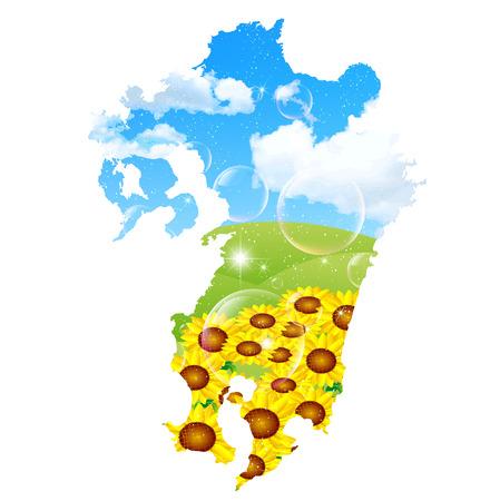 kyushu: Japan map sunflower