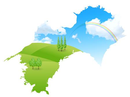 Japan map landscape