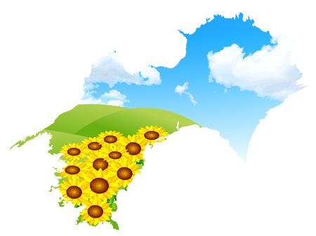 Japan map sunflower