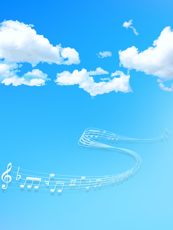 blue sky with clouds:  Note music sky Illustration