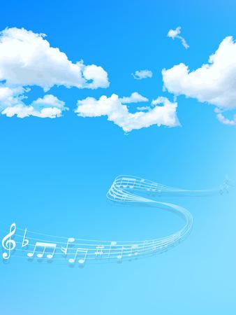 ciel avec nuages: Remarque ciel de la musique Illustration