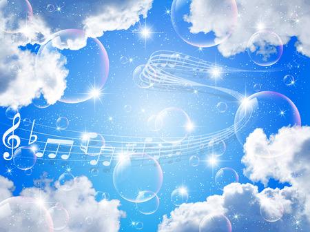 Note music sky Ilustração