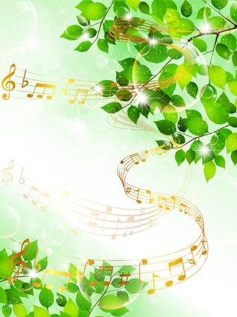음악 잎을 주 일러스트