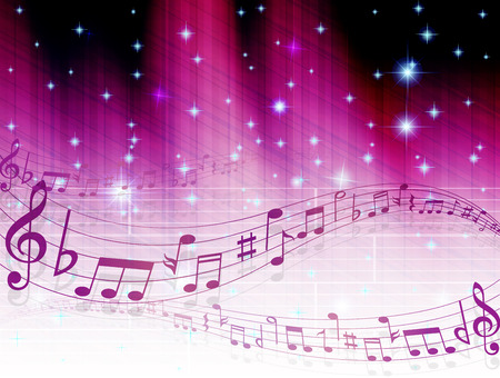 purple stars: Music note background