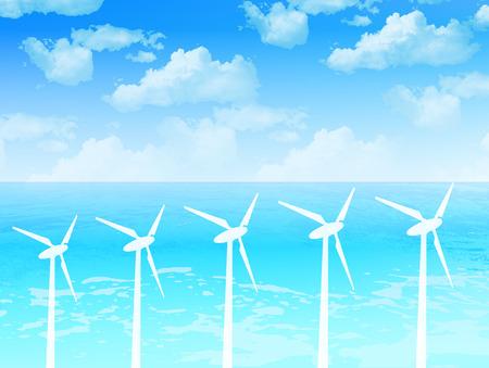 energia eolica: Energ�a e�lica mar Sky Vectores