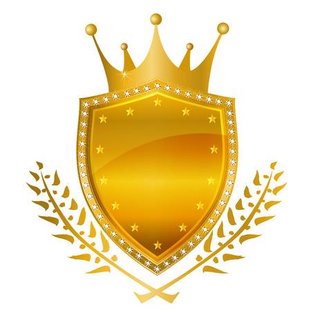 king crown laurel icon round: Crown crown emblem