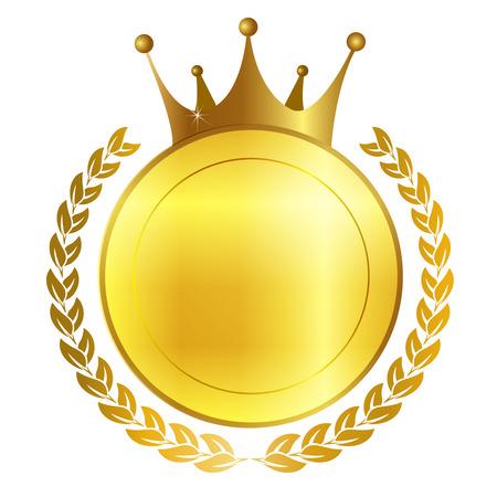 king crown laurel icon round: Crown frame medal