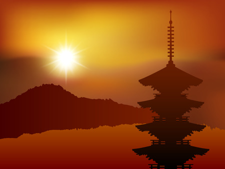 kyoto: Japan Kyoto landscape Illustration
