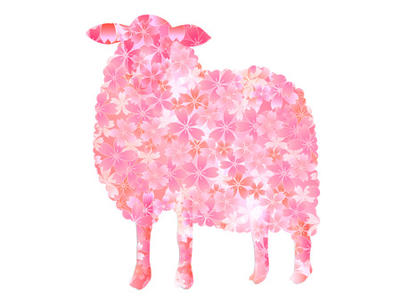 Sheep Cherry New Year s card Vector
