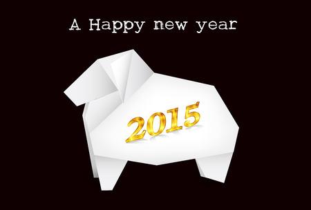 new year s card: Sheep paper New Year s card