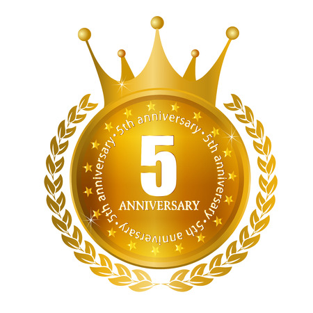 5th: 5th anniversary Crown medal frame Illustration
